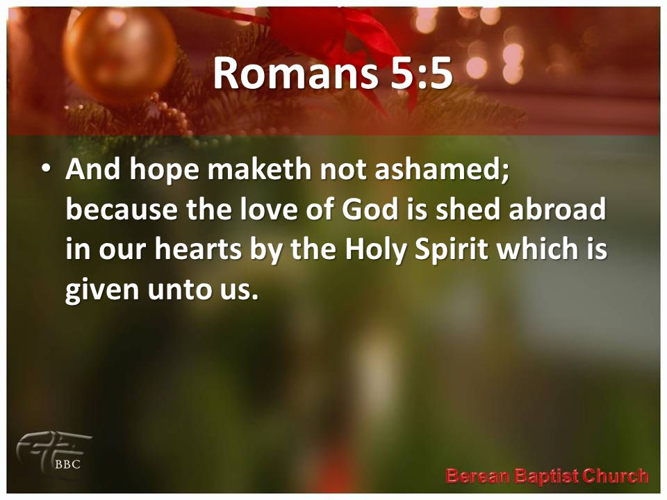 Romans 5:5 And hope maketh not ashamed; because the love of God is shed abroad in our hearts by the Holy Spirit which is given unto us.