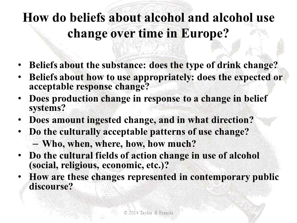 How do beliefs about alcohol and alcohol use change over time in Europe