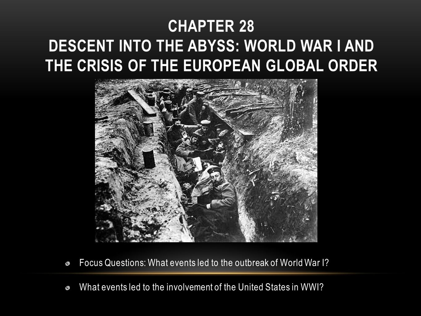 the events that led to the first world war World history/causes and course of the first world war from wikibooks, open books for an open world  factors leading to war  a remarkable series of events kept the relative peace but as 1914 approached, tensions began to rise in a number of countries, and key issues began to take their toll.