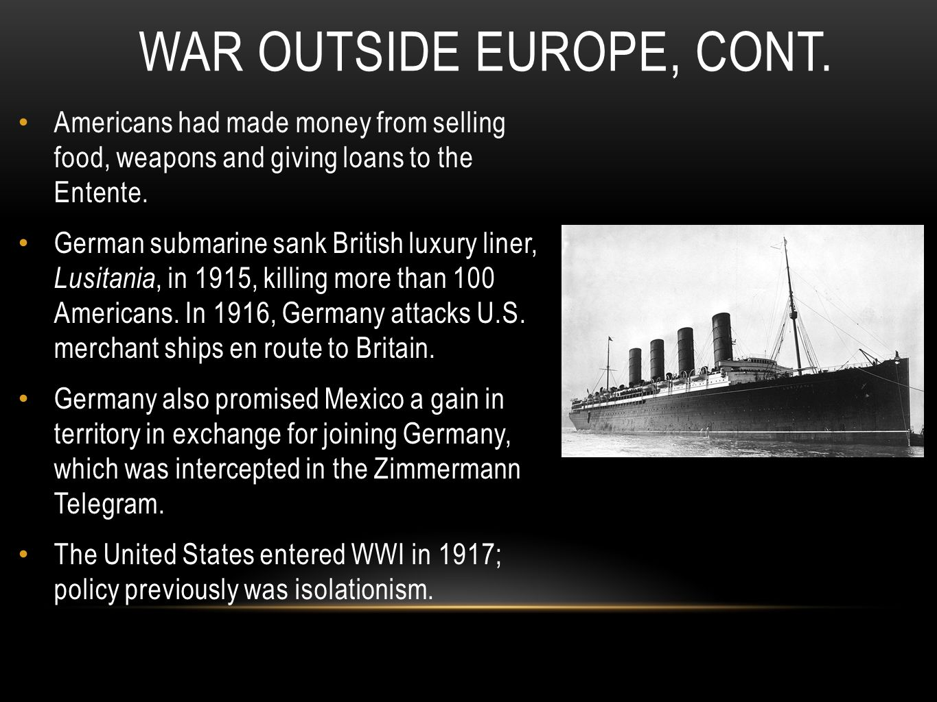 War Outside Europe, Cont.