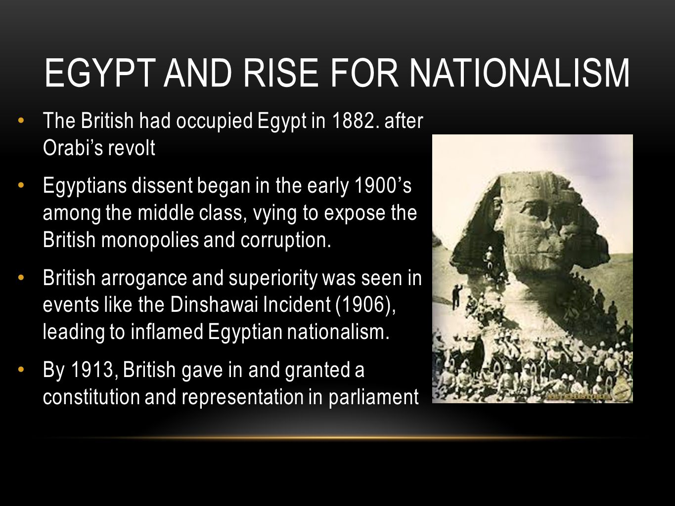 Egypt and rise for nationalism