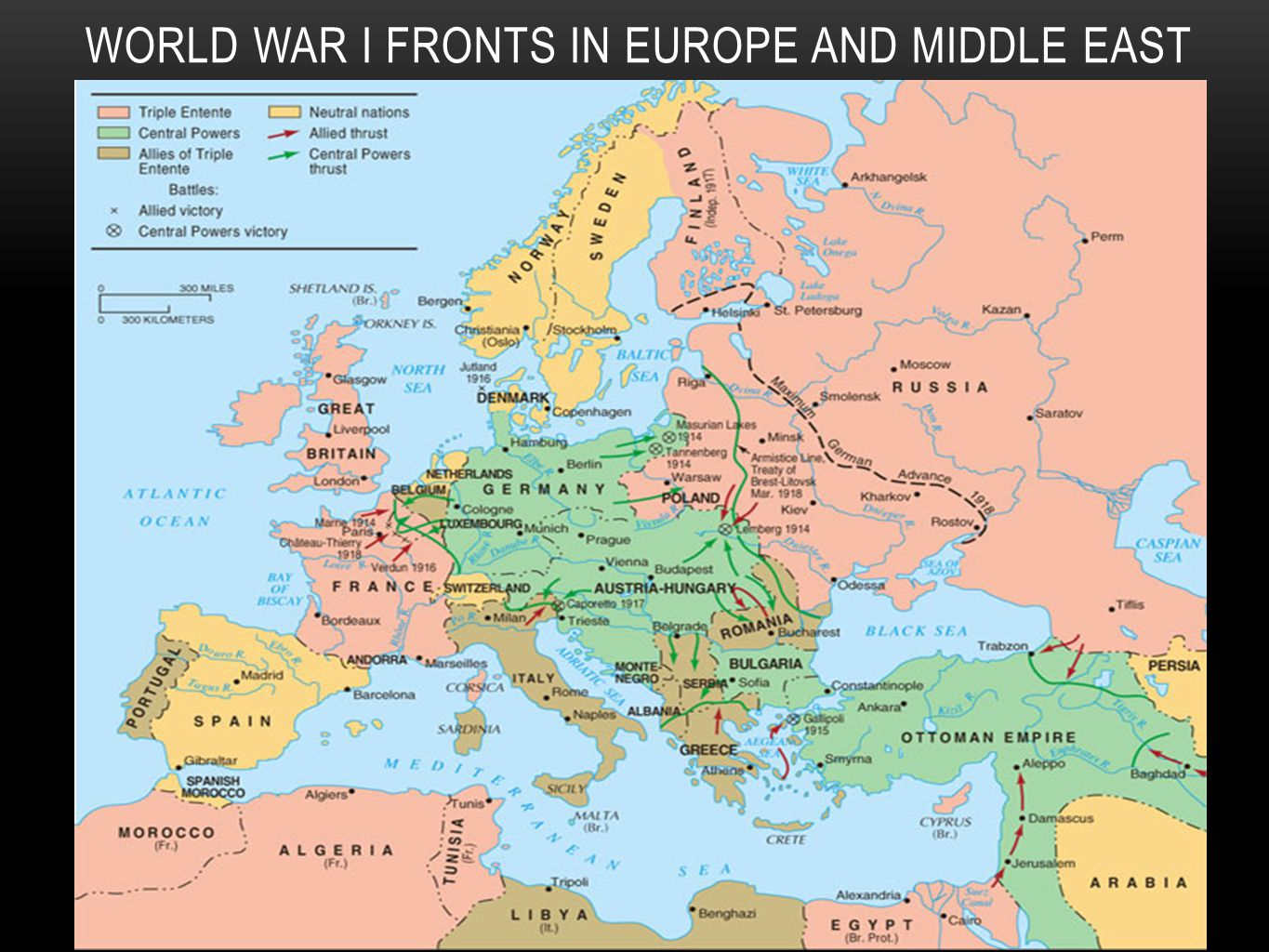 World War I Fronts in Europe and Middle East