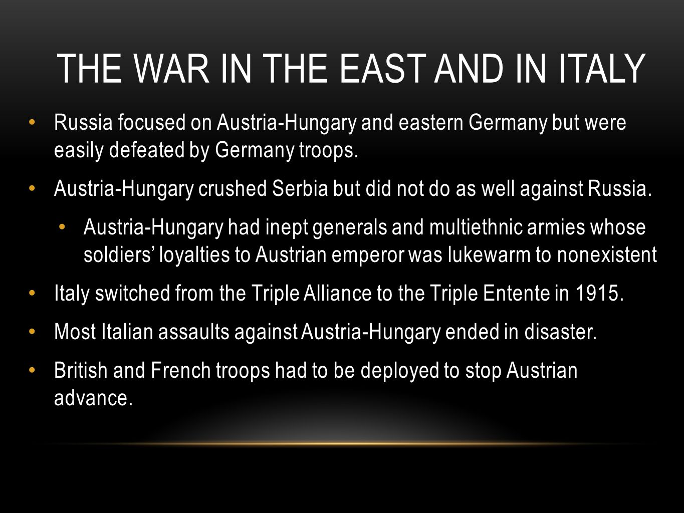The War in the East and in Italy