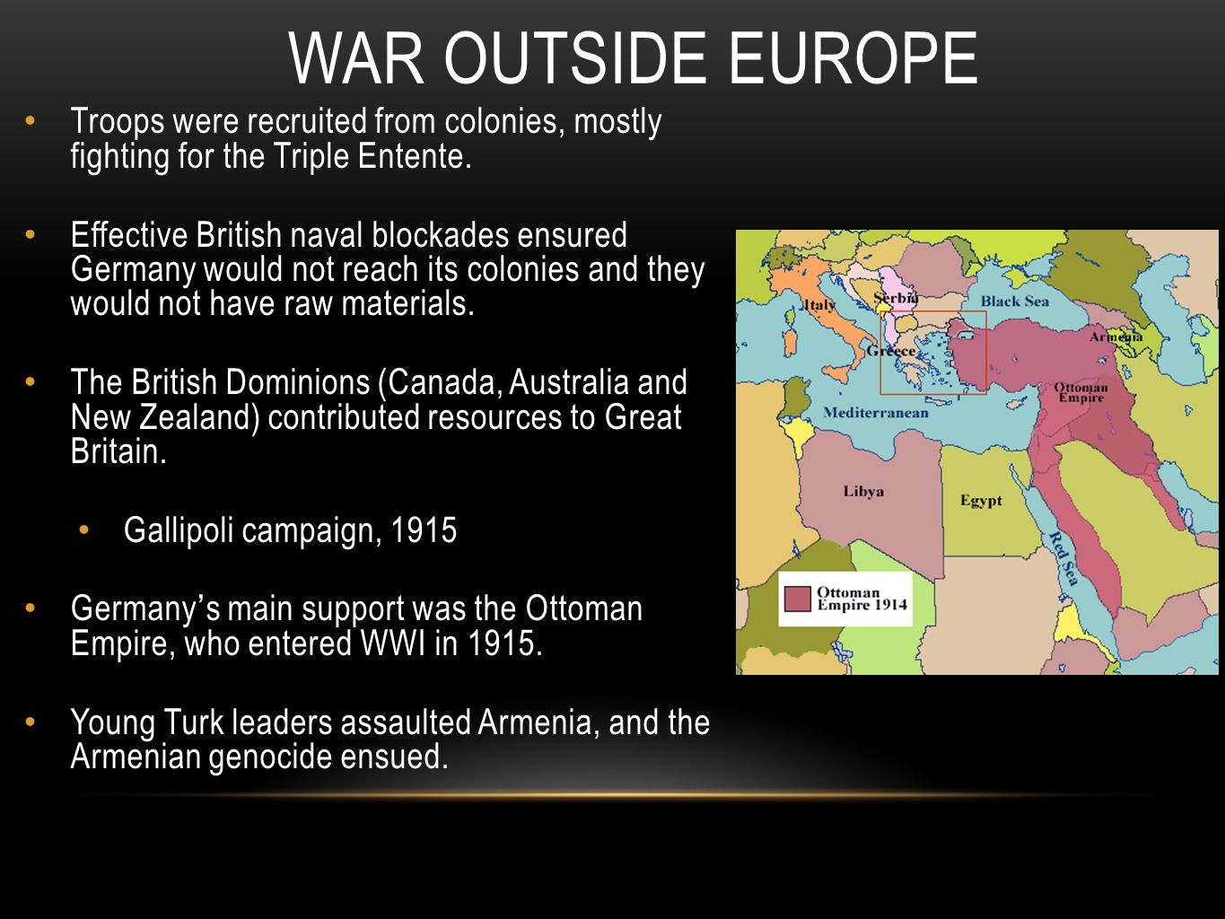 War Outside Europe Troops were recruited from colonies, mostly fighting for the Triple Entente.
