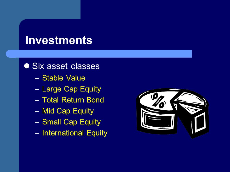 Investments Six asset classes Stable Value Large Cap Equity