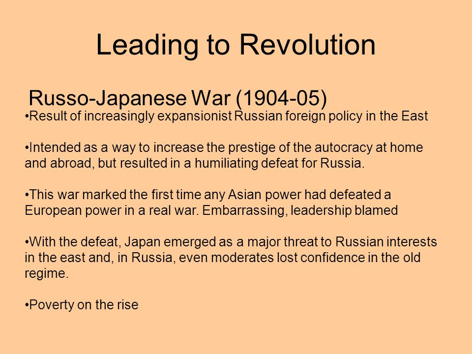 Leading to Revolution Russo-Japanese War (1904-05)