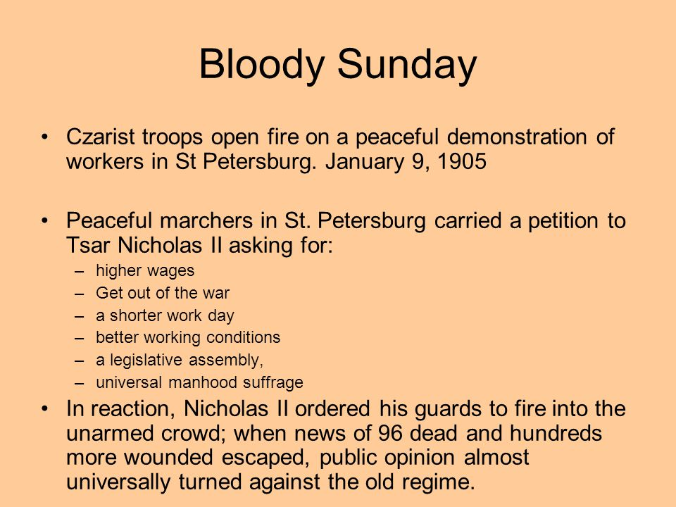 Bloody Sunday Czarist troops open fire on a peaceful demonstration of workers in St Petersburg. January 9, 1905.