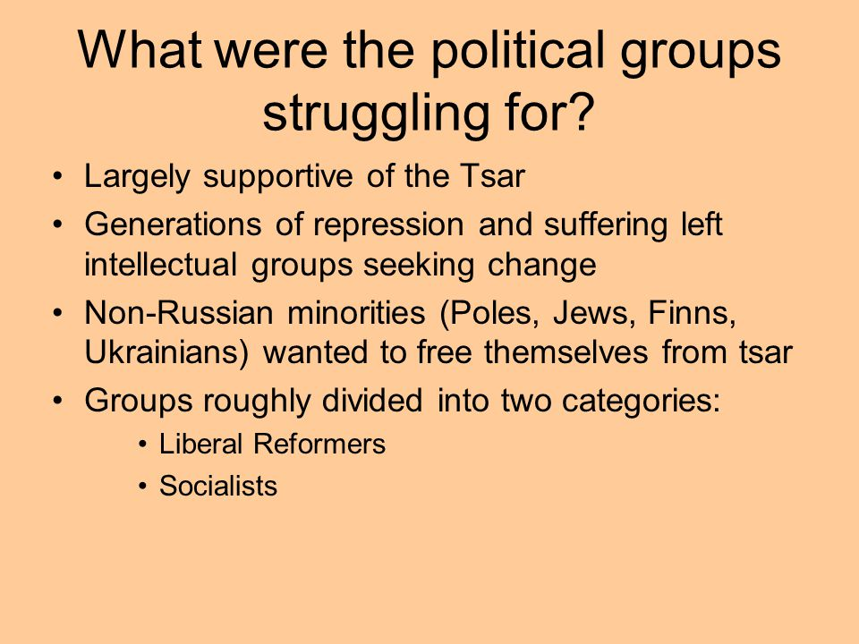What were the political groups struggling for