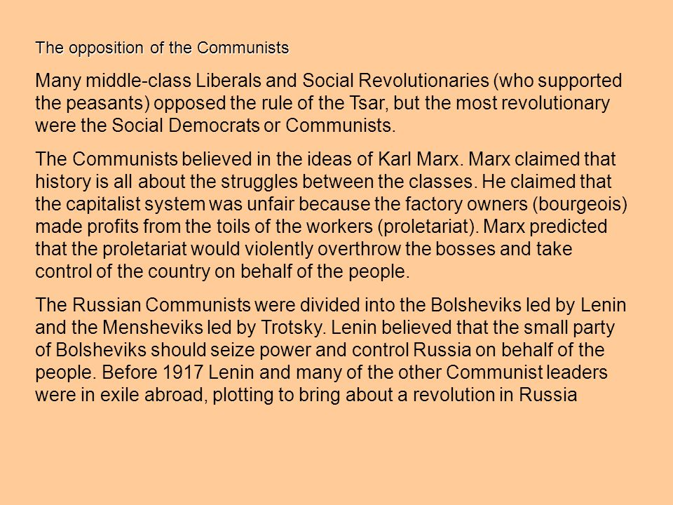 The opposition of the Communists
