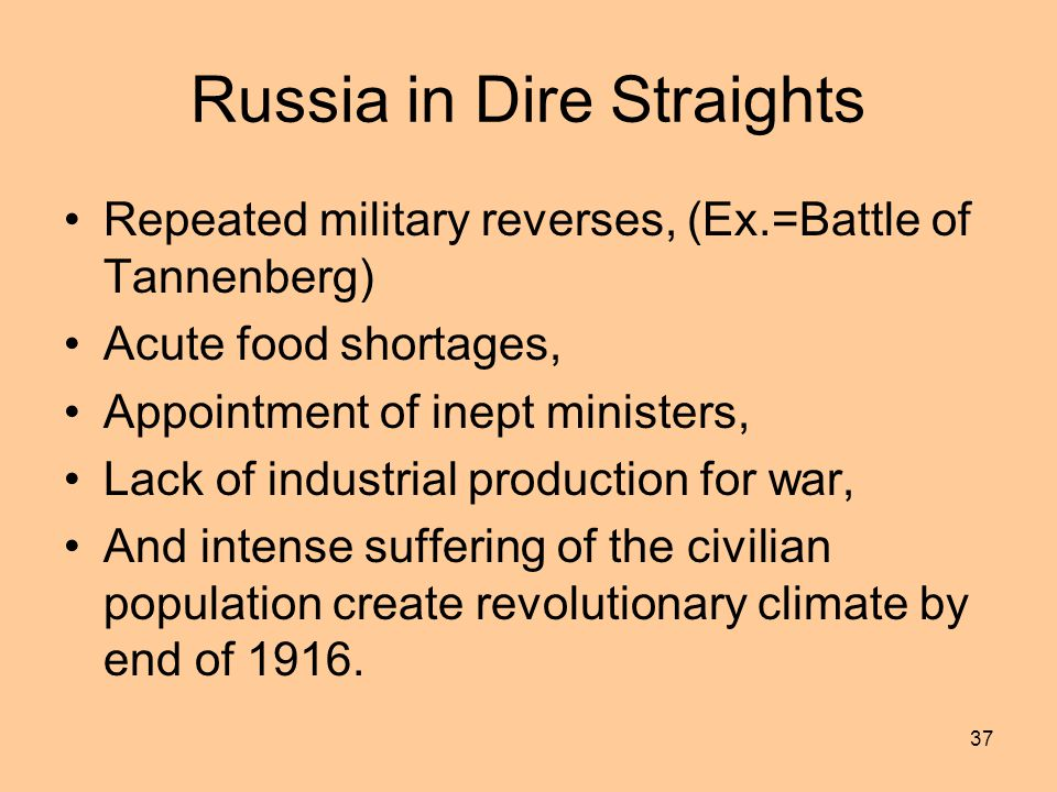 Russia in Dire Straights