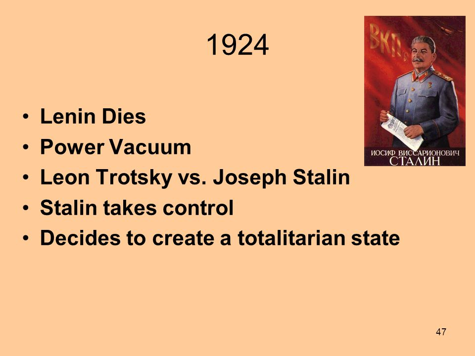 1924 Lenin Dies Power Vacuum Leon Trotsky vs. Joseph Stalin