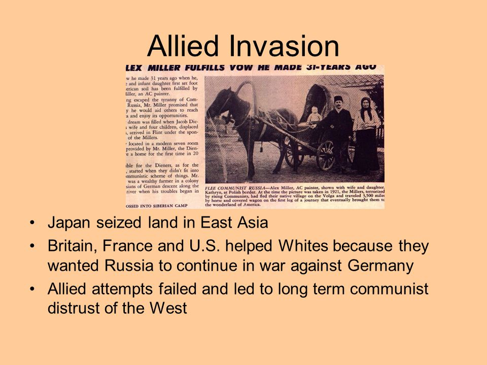 Allied Invasion Japan seized land in East Asia