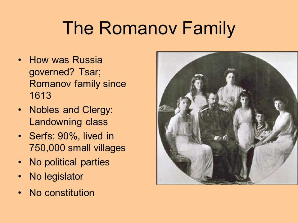 The Romanov Family How was Russia governed Tsar; Romanov family since 1613. Nobles and Clergy: Landowning class.