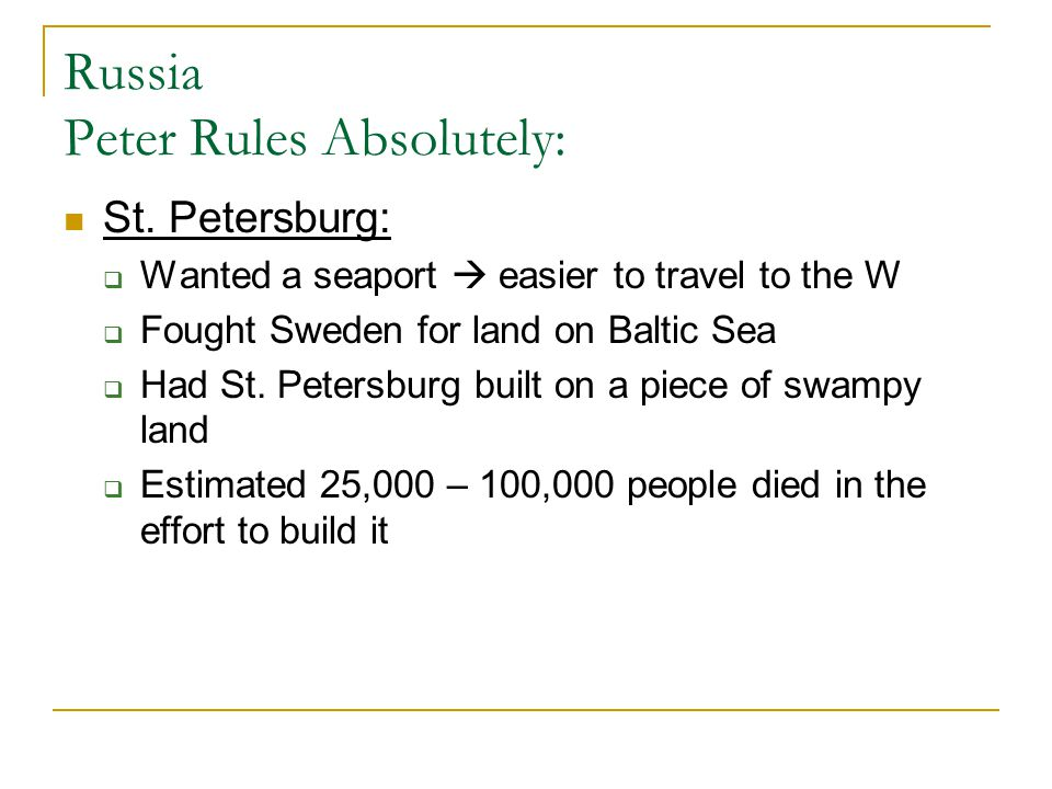 Russia Peter Rules Absolutely: