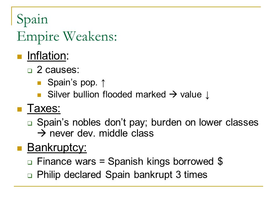 Spain Empire Weakens: Inflation: Taxes: Bankruptcy: 2 causes: