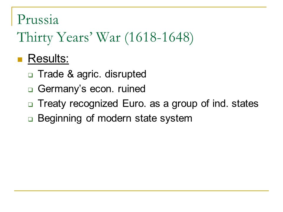 Prussia Thirty Years' War (1618-1648)