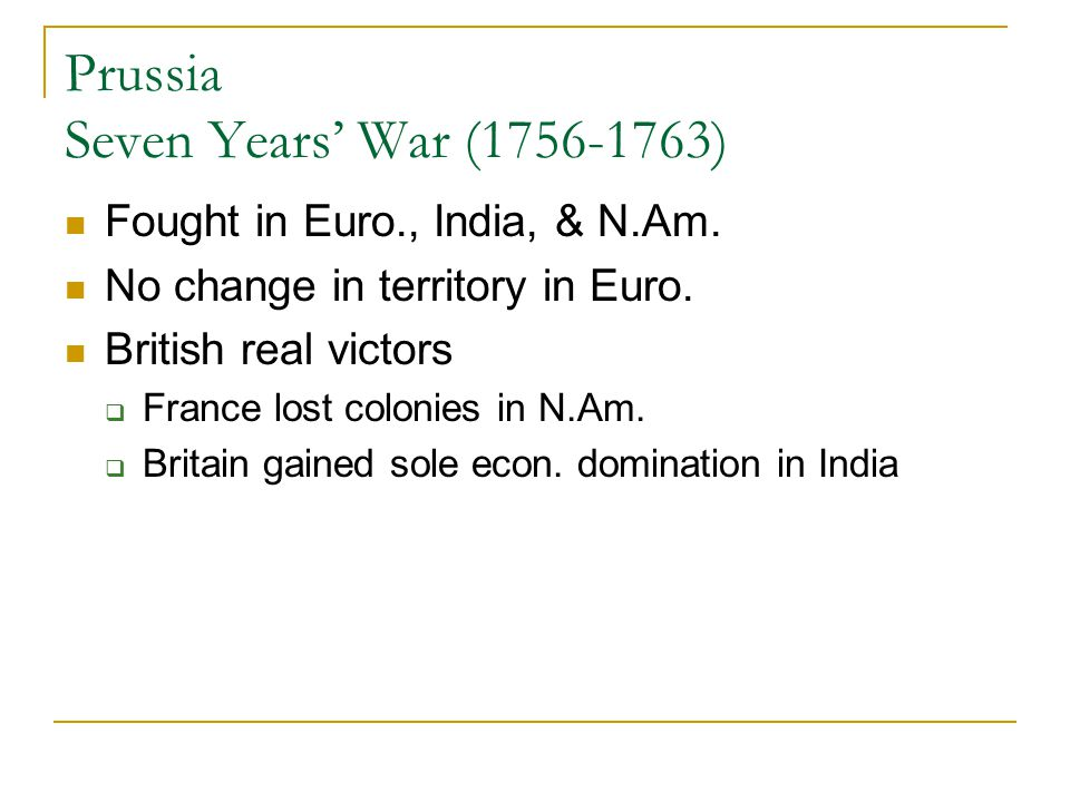 Prussia Seven Years' War (1756-1763)