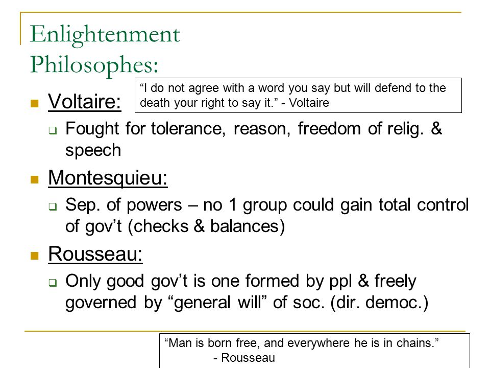 Enlightenment Philosophes: