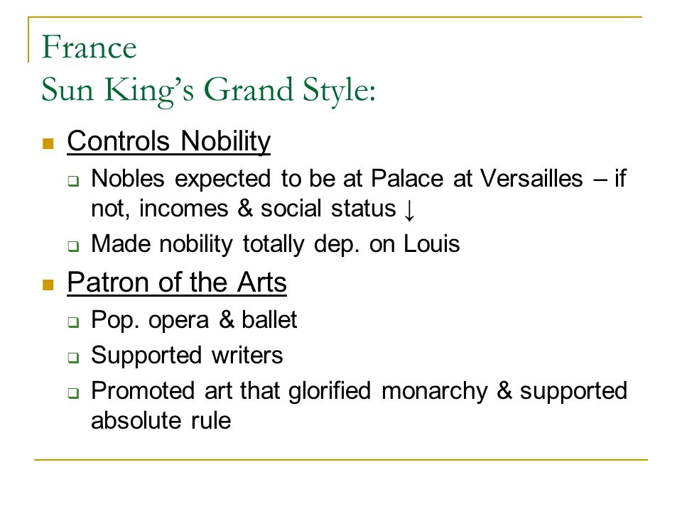 France Sun King's Grand Style:
