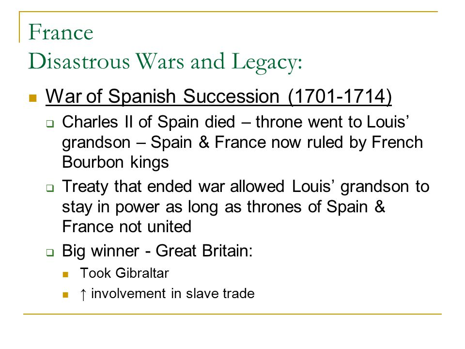 France Disastrous Wars and Legacy: