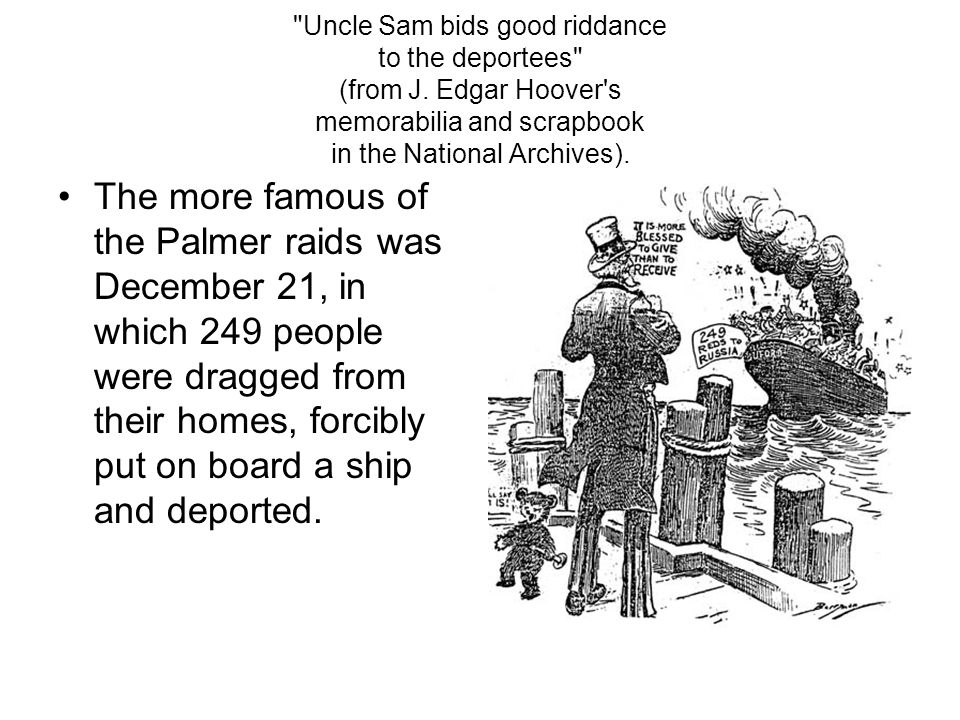 Uncle Sam bids good riddance to the deportees (from J