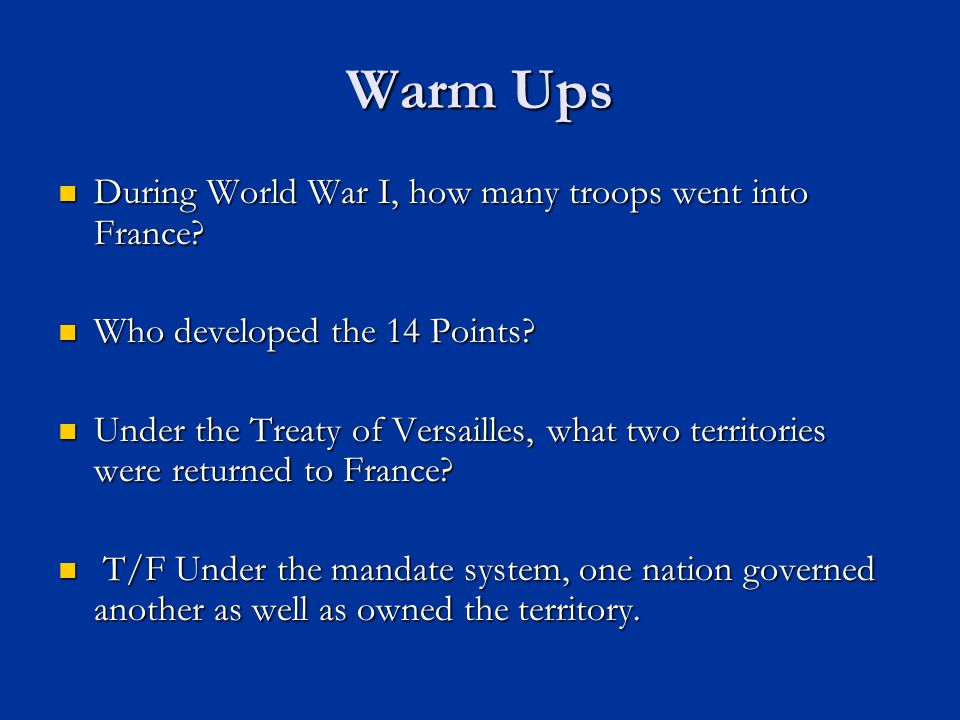 Warm Ups During World War I, how many troops went into France