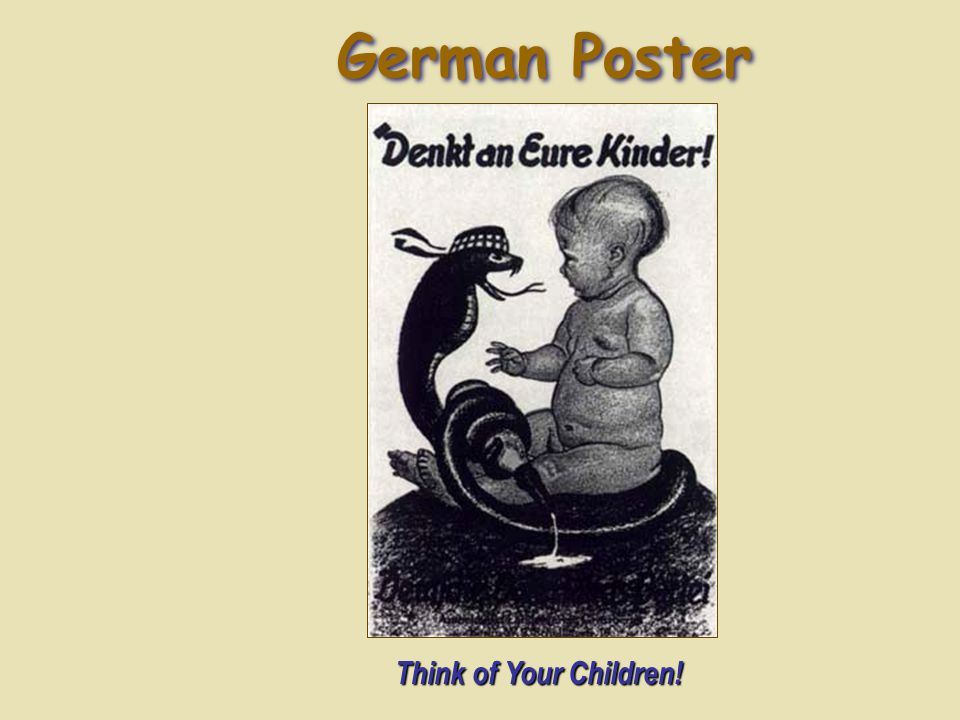 German Poster Think of Your Children!