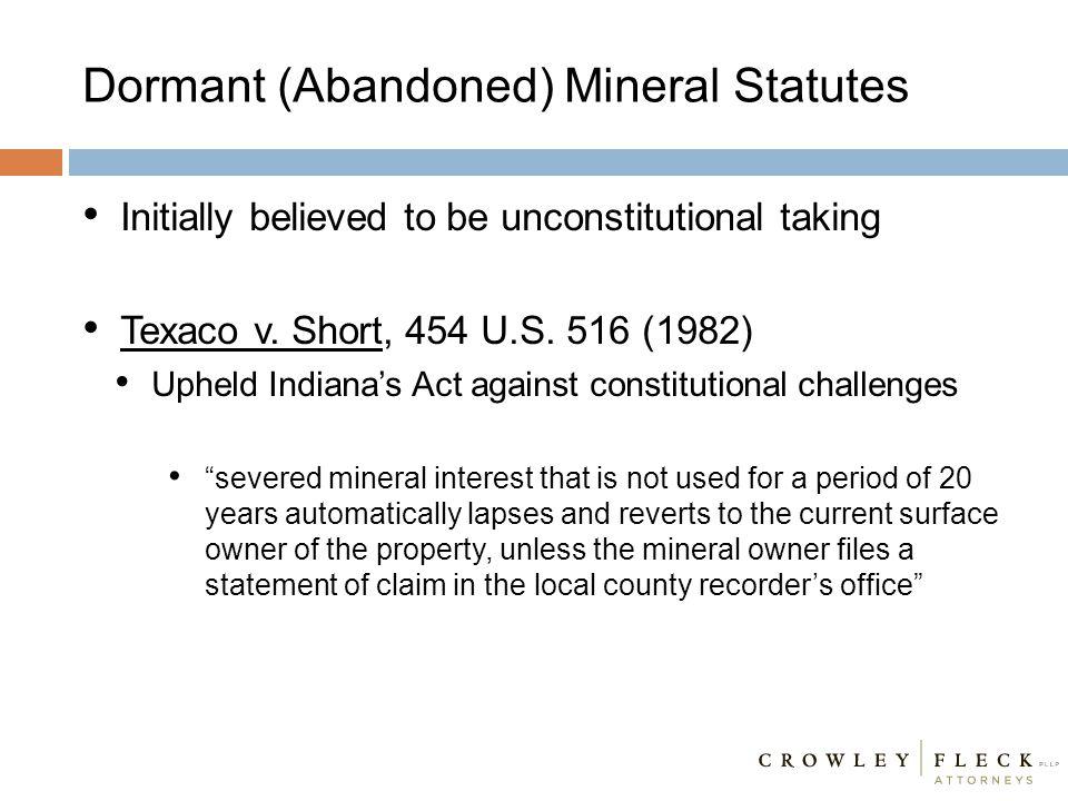 Dormant (Abandoned) Mineral Statutes