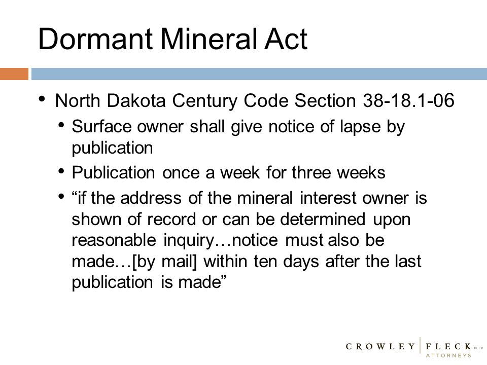 Dormant Mineral Act North Dakota Century Code Section 38-18.1-06