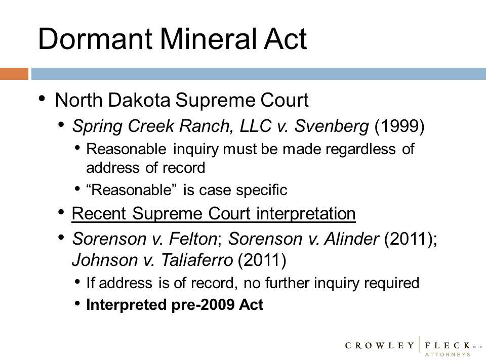Dormant Mineral Act North Dakota Supreme Court