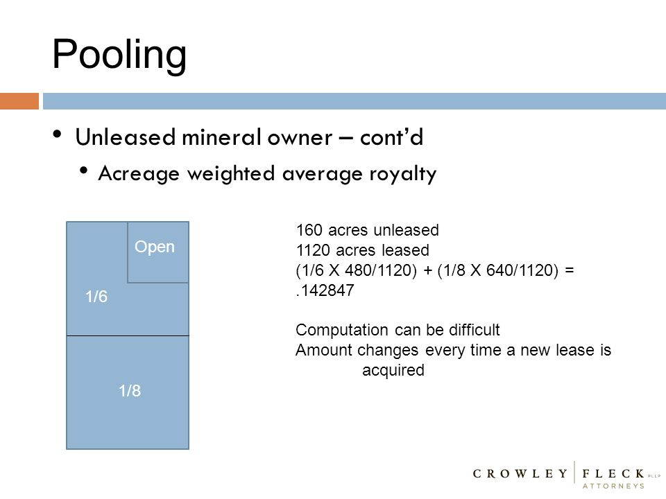 Pooling Unleased mineral owner – cont'd