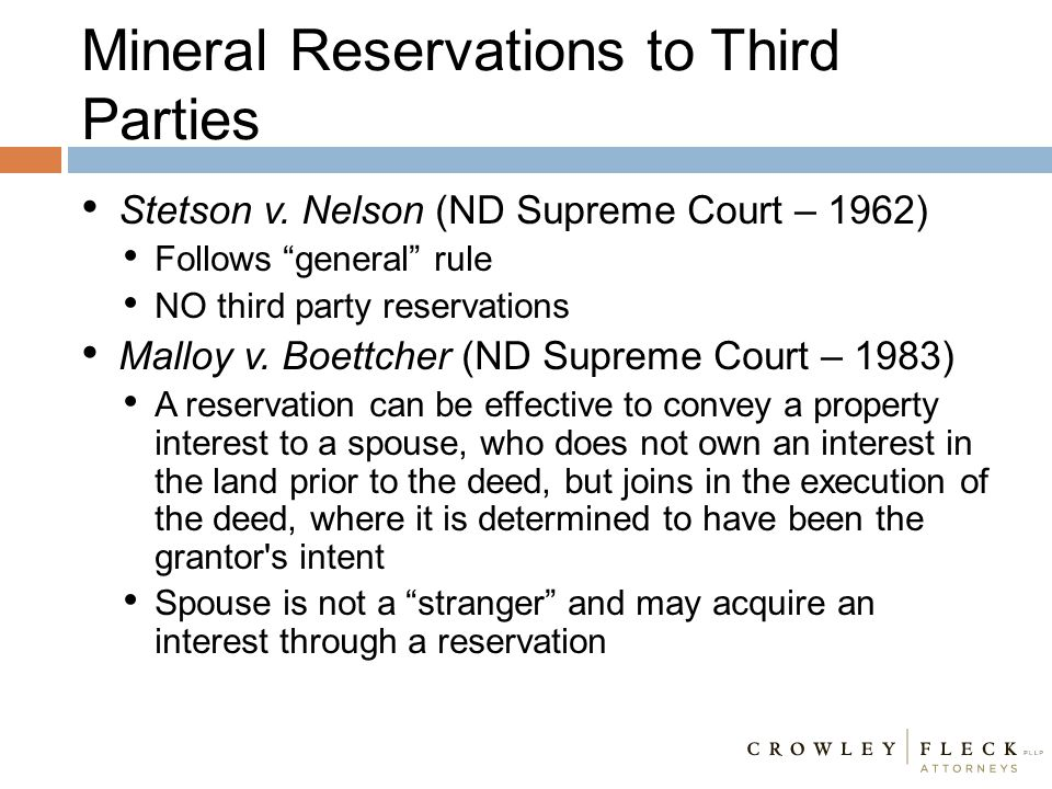 Mineral Reservations to Third Parties