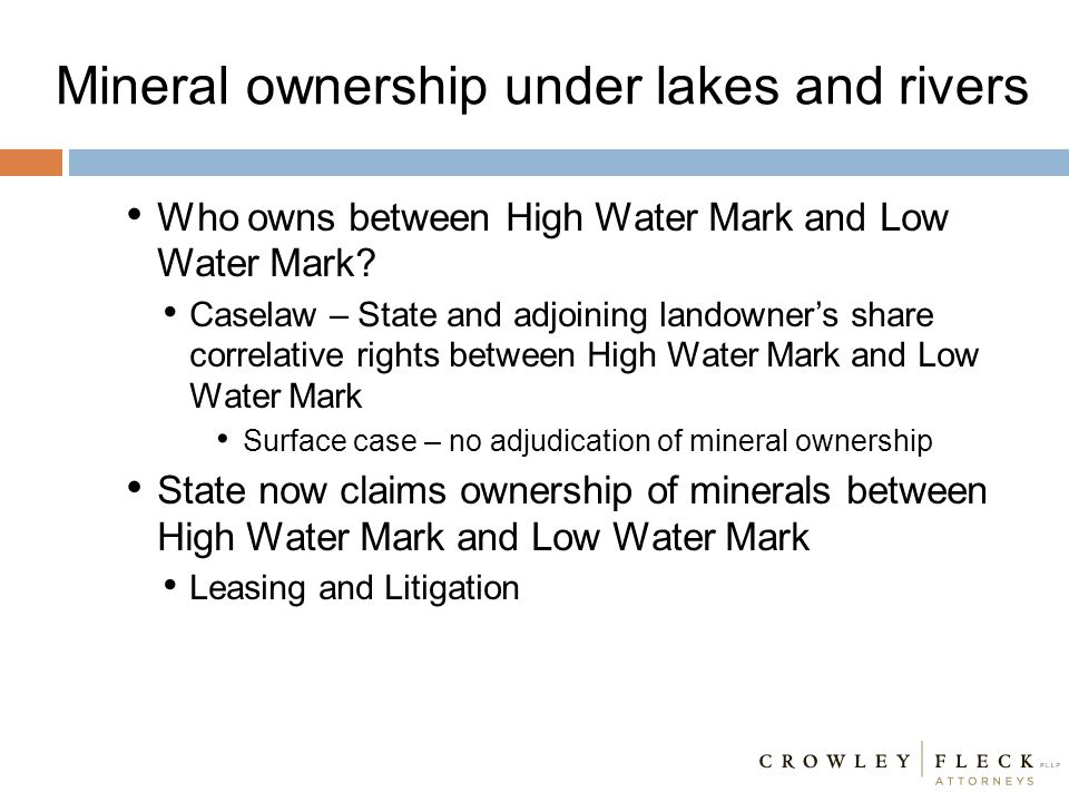 Mineral ownership under lakes and rivers