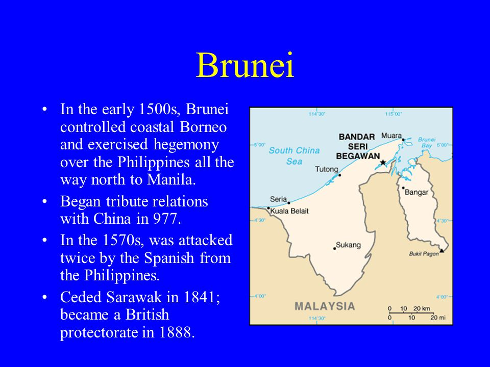 Brunei In the early 1500s, Brunei controlled coastal Borneo and exercised hegemony over the Philippines all the way north to Manila.