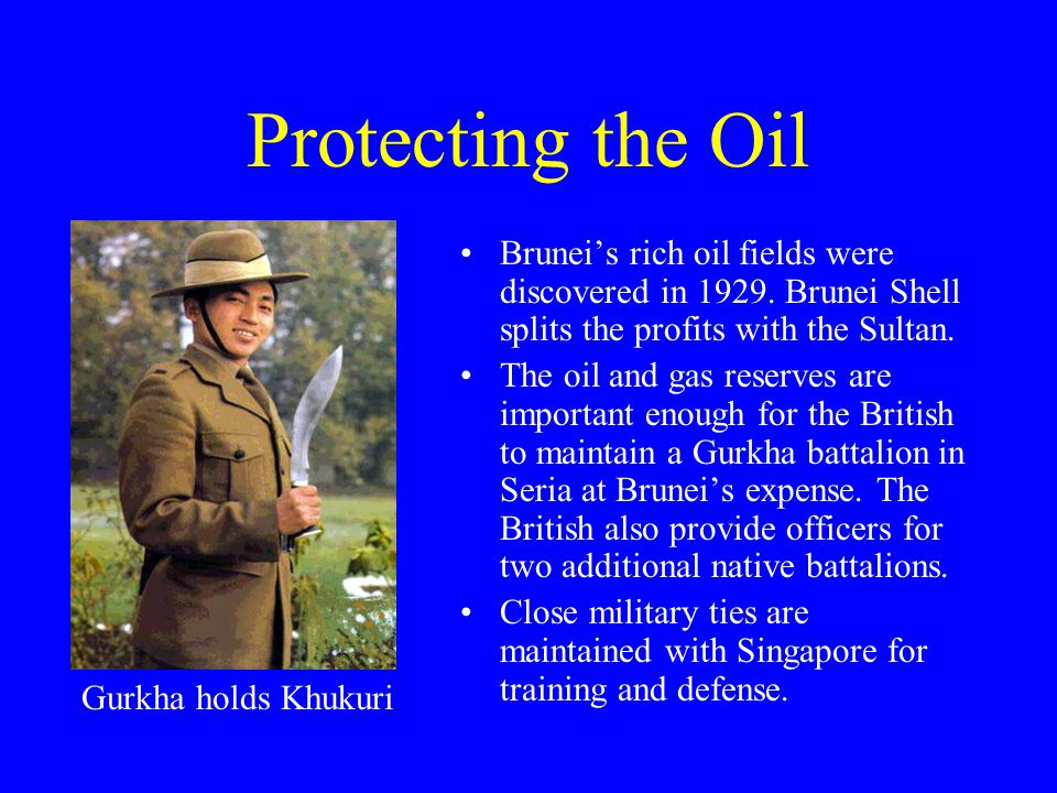 Protecting the Oil Brunei's rich oil fields were discovered in 1929. Brunei Shell splits the profits with the Sultan.
