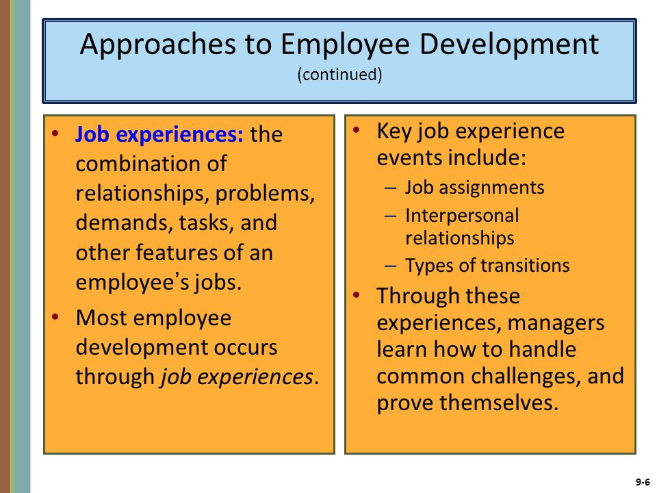 Approaches to Employee Development (continued)