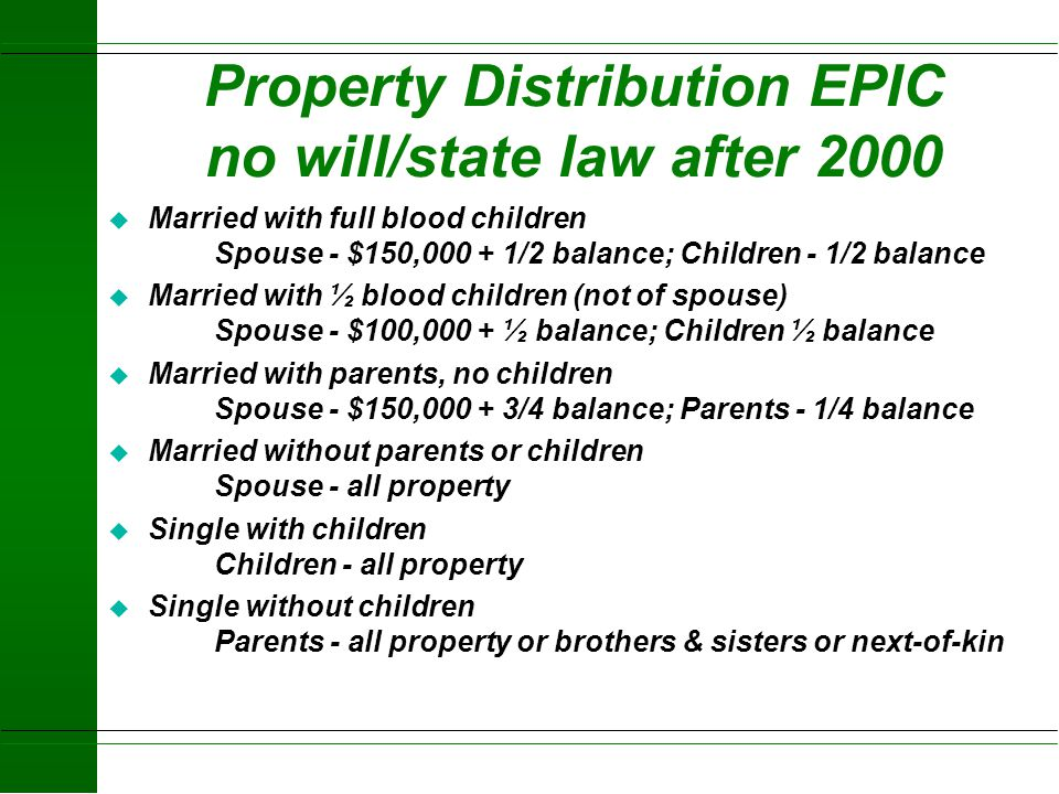 Property Distribution EPIC no will/state law after 2000