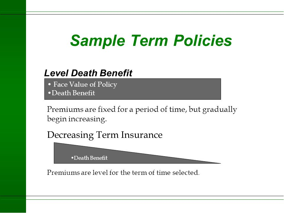 Sample Term Policies Level Death Benefit Decreasing Term Insurance