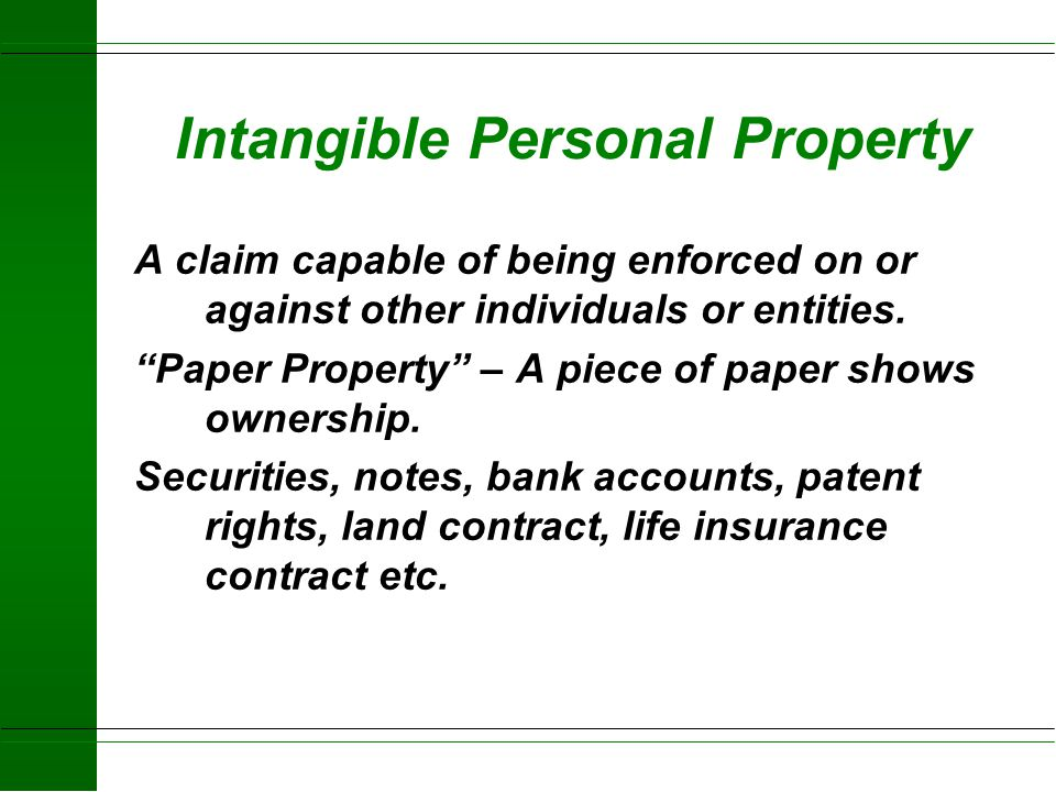 Intangible Personal Property