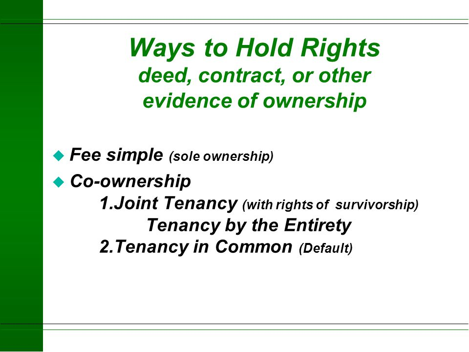 Ways to Hold Rights deed, contract, or other evidence of ownership
