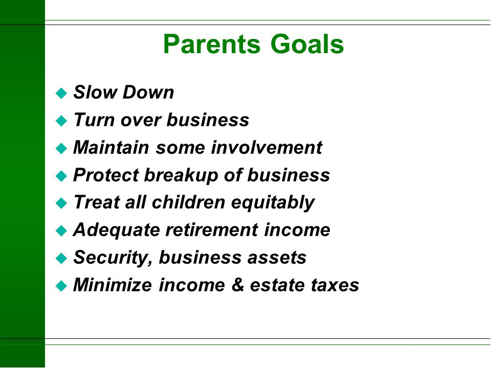 Parents Goals Slow Down Turn over business Maintain some involvement