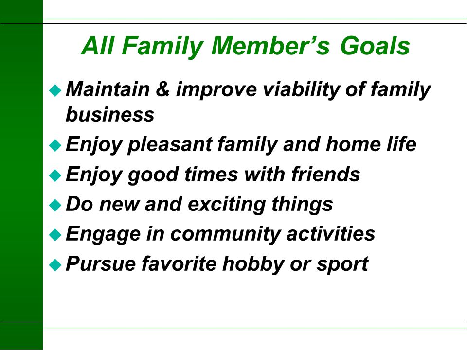 All Family Member's Goals