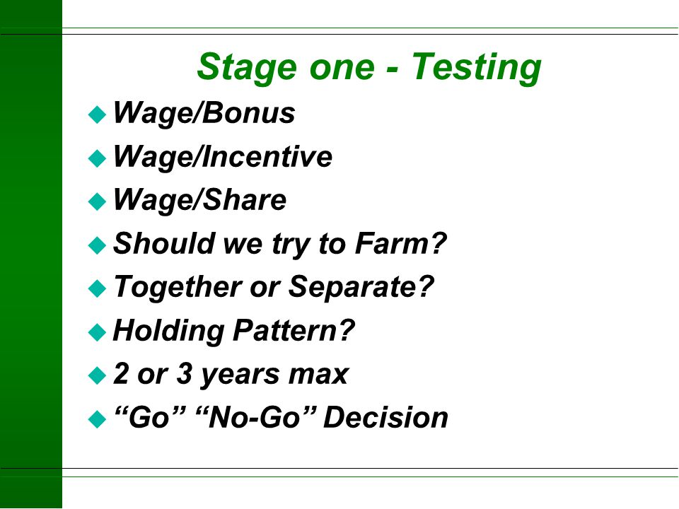 Stage one - Testing Wage/Bonus Wage/Incentive Wage/Share