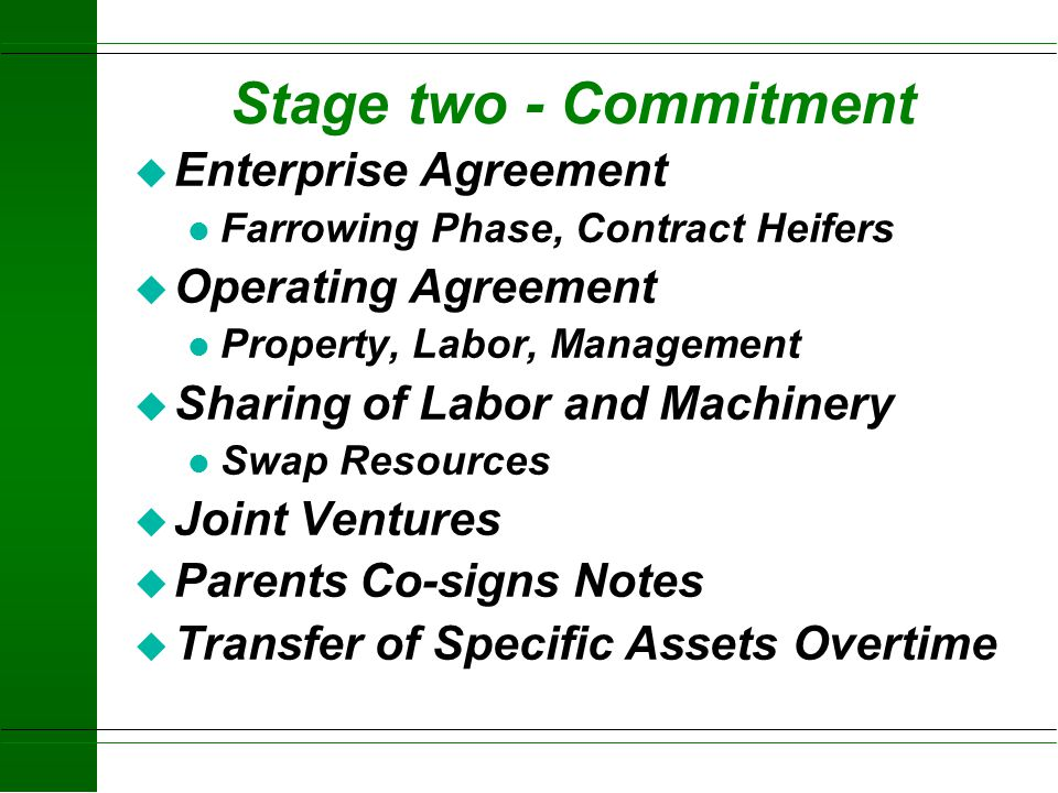 Stage two - Commitment Enterprise Agreement Operating Agreement
