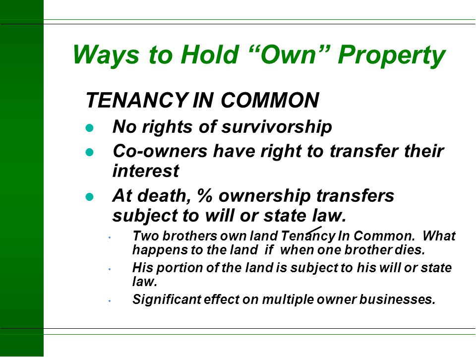 Ways to Hold Own Property