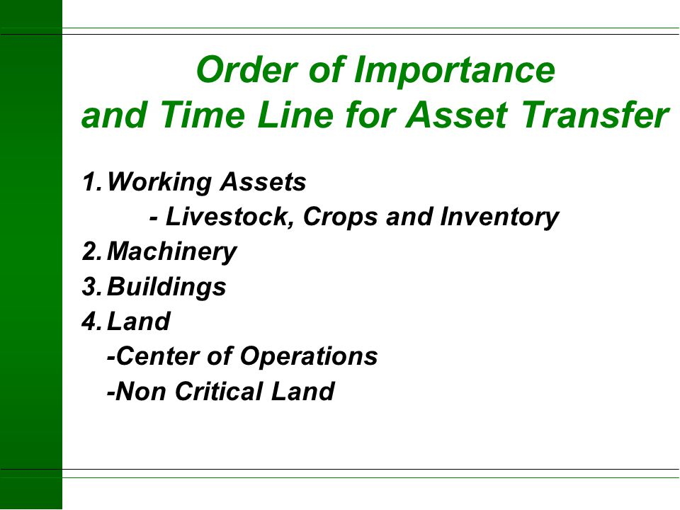 Order of Importance and Time Line for Asset Transfer