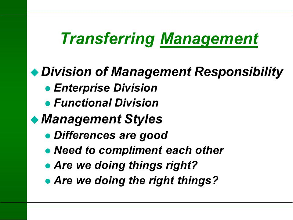 Transferring Management