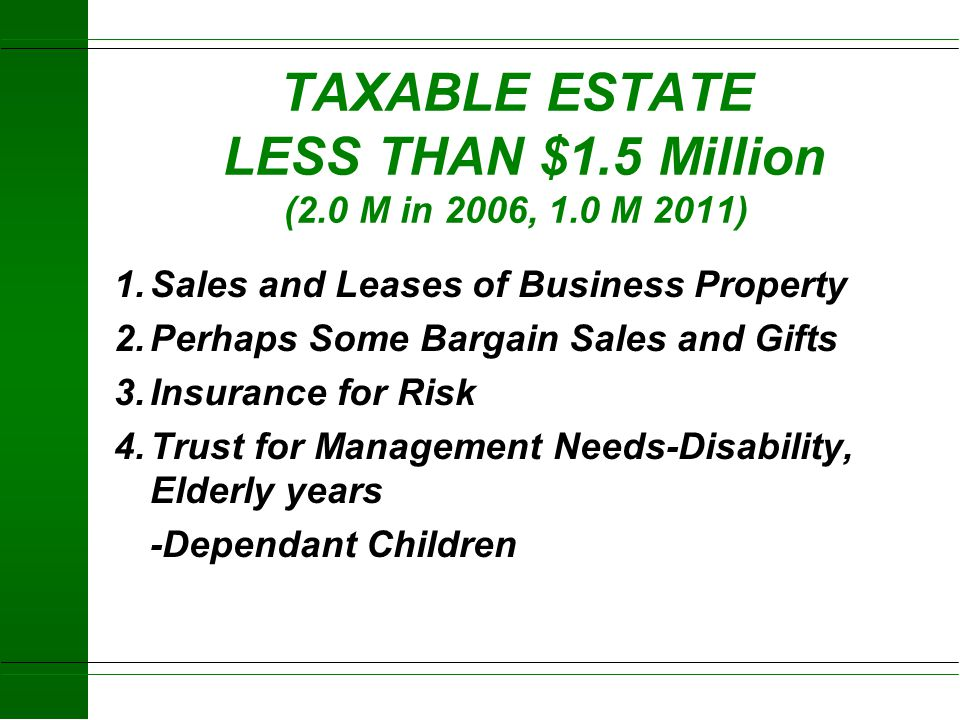 TAXABLE ESTATE LESS THAN $1.5 Million (2.0 M in 2006, 1.0 M 2011)