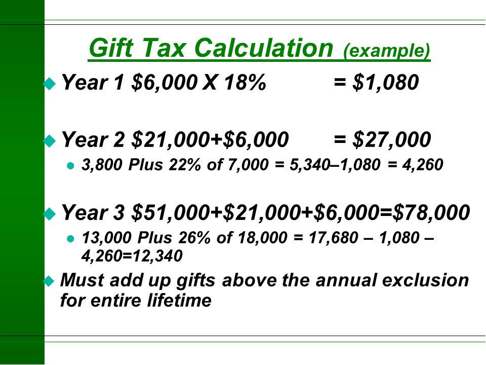 Gift Tax Calculation (example)