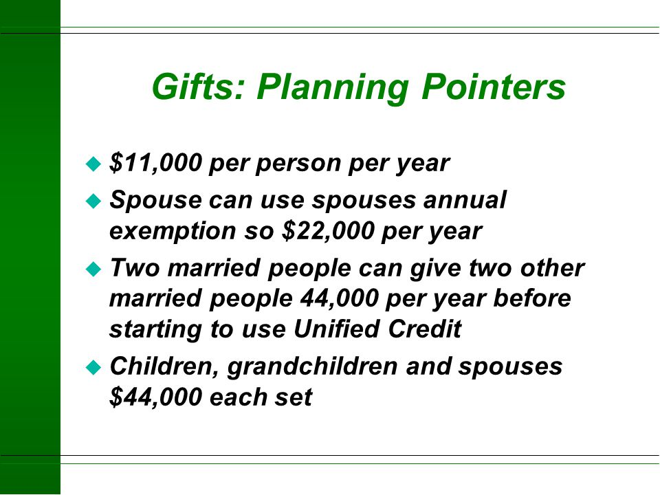 Gifts: Planning Pointers
